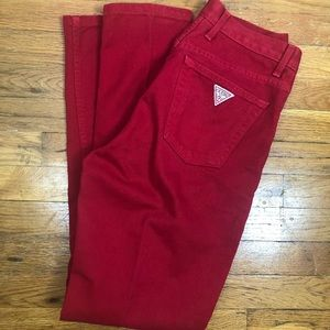Vintage GUESS Jeans USA Denim high Rise 90s Red